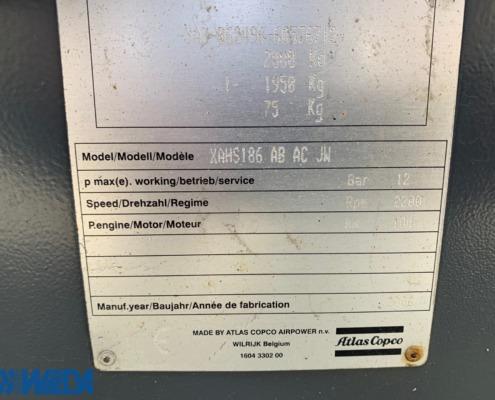 Tweedehands-mobiele-generator-Atlas-Copco-XAHS-186-Dd-typeplaat