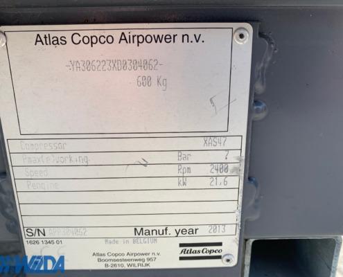 Tweedehands-compressor-Atlas-Copco-XAS-47-Kd-typeplaat